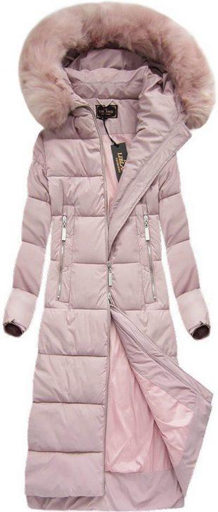 Dlhý dámsky ružový prešívaný zimný kabát