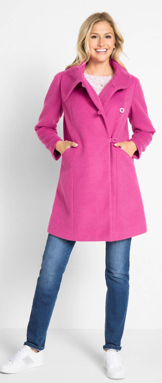 Fialový dámsky kabát s veľkým golierom