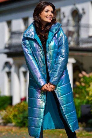 Holografická bunda v pôsobivom svetle modrom prevedení