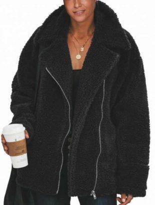 Huňatá čierna dámska zimná bunda