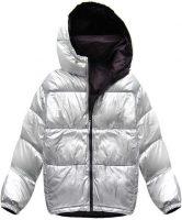 Obojstranná strieborná a tmavo fialová páperová dámska zimná bunda