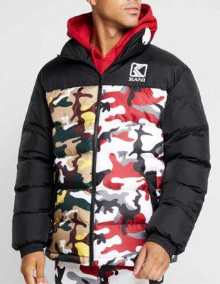 Pánska zimná prešívaná bunda s vyšším golierom v army štýle