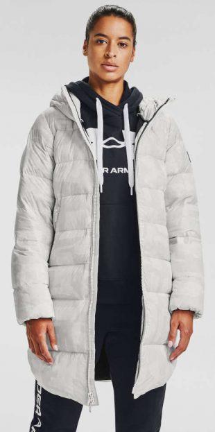 Predĺžená prešívaná biela dámska zimná bunda s kapucňou Under Armour