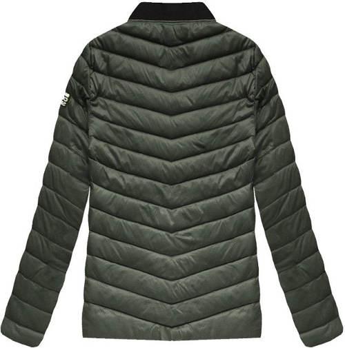 Prešívaná pánska khaki bunda so stojačikom