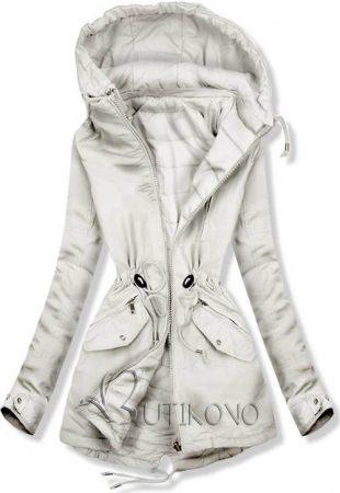 Svetlo šedá obojstranná dámska zimná bunda