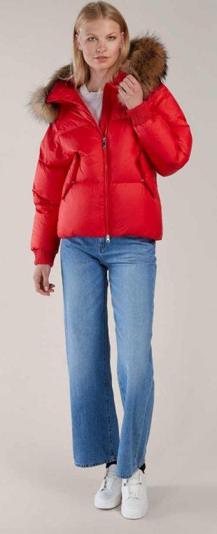 Žiarivo červená páperová oversized dámska bunda Kara