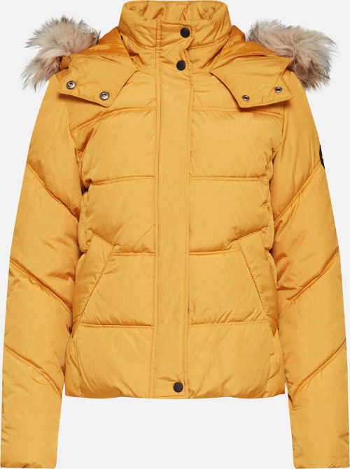 Žltá dámska zimná prešívaná bunda s kožušinkou na kapucni