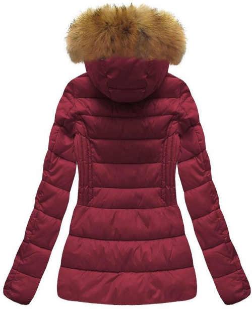 Bordová dámska zimná bunda s kapucňou a kožušinkou