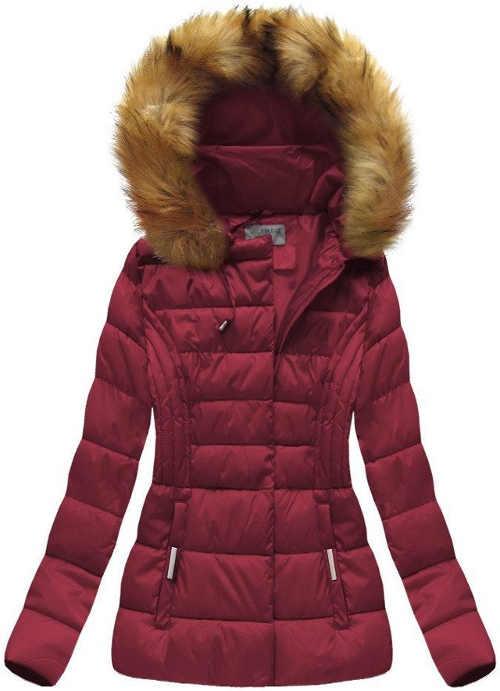 Fialová teplá krátka zimná bunda s kapucňou