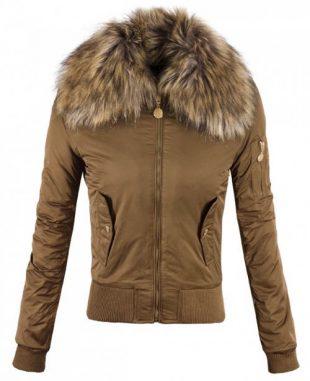 Hnedá zimná bunda s líškou okolo krku