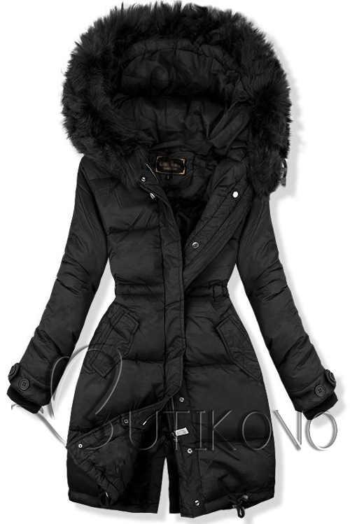 Jednofarebná čierna predĺžená dámska zimná bunda