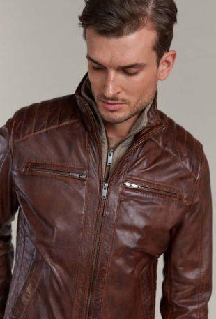 Koňaková kožená bunda z jahňaciny s odnímateľnou úpletovou vložkou