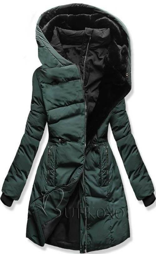 Metalovo zelená prešívaná predĺžená dámska zimná bunda