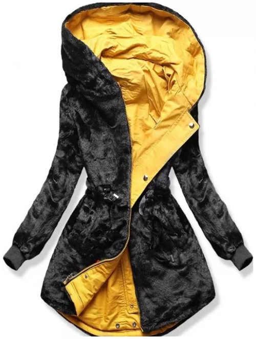 Obojstranná žlto čierna dámska zimná bunda