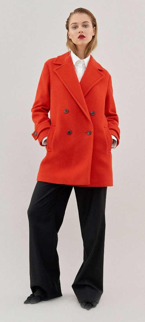 Oranžový dámsky vlnený kabát