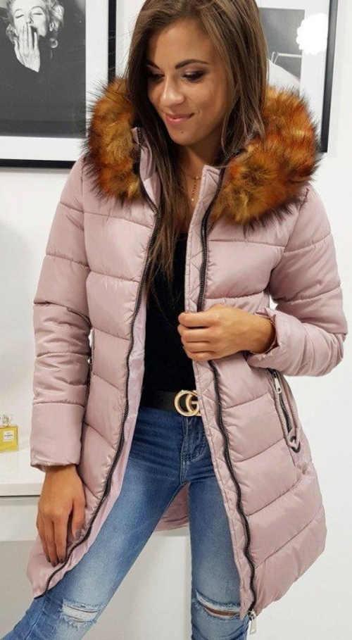 Svetlo ružová predĺžená dámska zimná bunda s kožušinkou