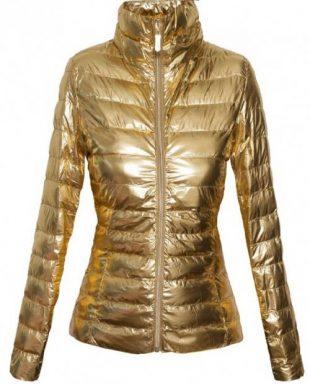 Zlatá lesklá dámska bunda