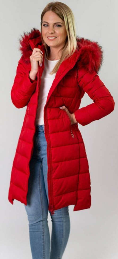 Červená prešívaná dámska predĺžená bunda