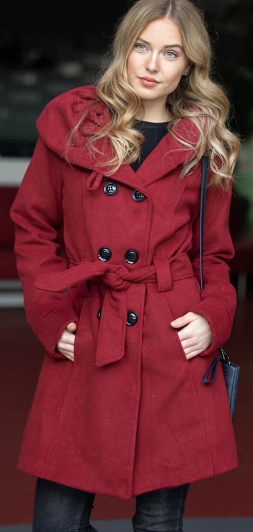 Červený dámsky zimný kabát za priaznivú cenu