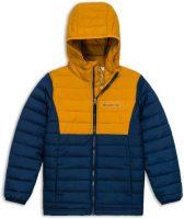 Chlapčenská modro-žltá prešívaná zimná bunda Columbia
