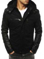 Čierna pánska zimná bunda s odnímateľnou kapucňou