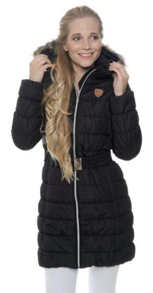 Čierny prešívaný predĺžený dámsky zimný kabát s kapucňou SAM73