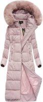 Dámska dlhá zimná bunda s kapucňou v púdrovo ružovej farbe
