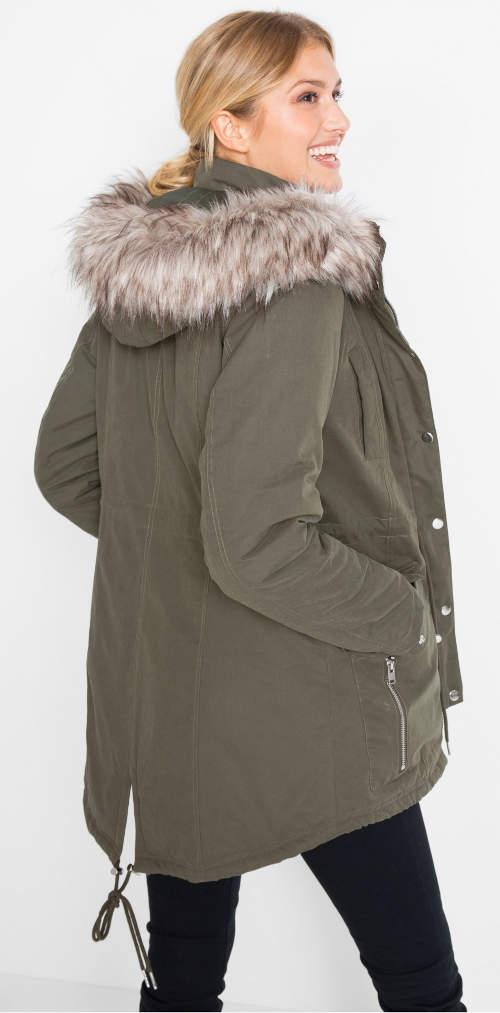 Dámska predĺžená zimná bunda s kožušinou