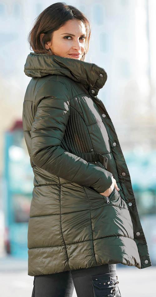 Dámsky khaki prešívaný zimný kabát