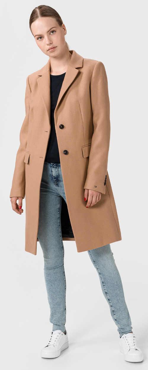Dlhý béžový dámsky kabát Tommy Hilfiger