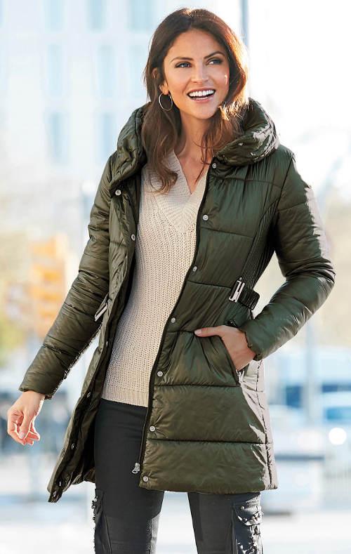 Khaki bunda vhodná pre tehotné