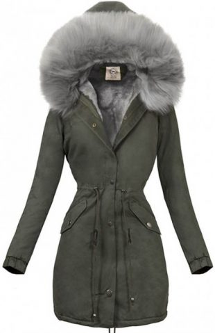 Khaki dámska zimná parka so sivou kožušinou