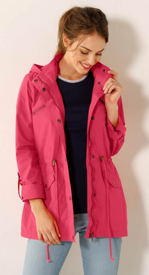 Ľahšie ružová nepremokavá bunda