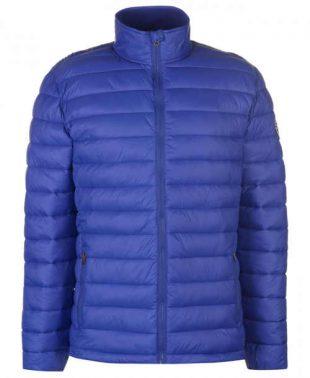Modrá pánska zimná bunda s vyšším stojačikom