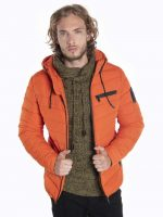 Moderná pánska oranžová zimná bunda