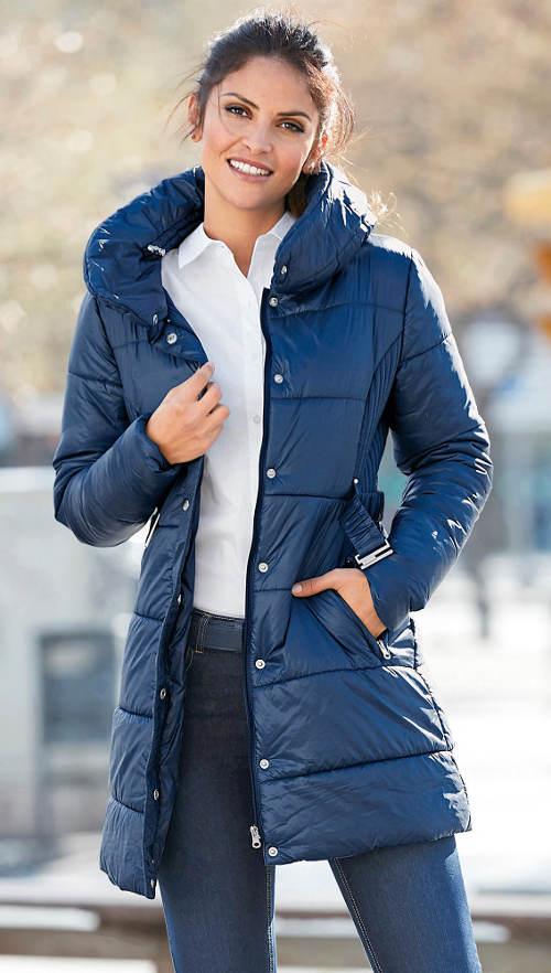 Prešívaný dámsky kabát parka pre plnoštíhle
