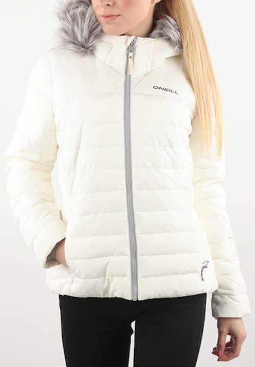Žiarivo biela dámska zimná nepremokavá bunda