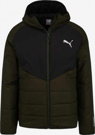 Zimná pánska prešívaná bunda vo farebnej kombinácii olivová s čiernou