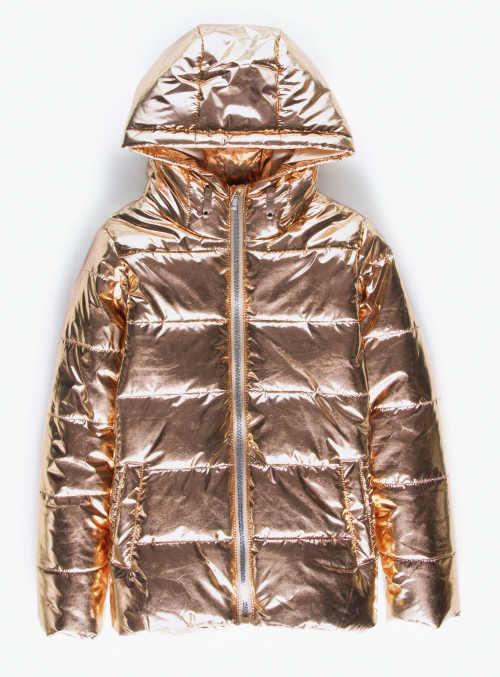Zlatá metalická dievčenská zimná bunda s kapucňou