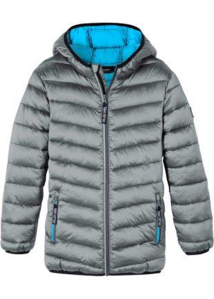 Chlapčenská strieborná šedá prešívaná zimná outdoorová bunda