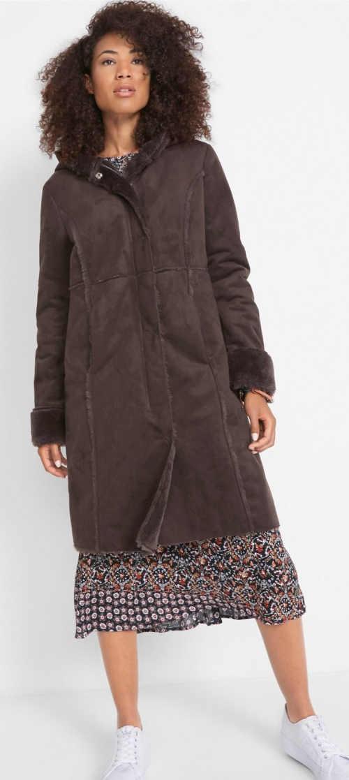 Dámsky dlhý hnedý kabát z imitácie jahňacej kože
