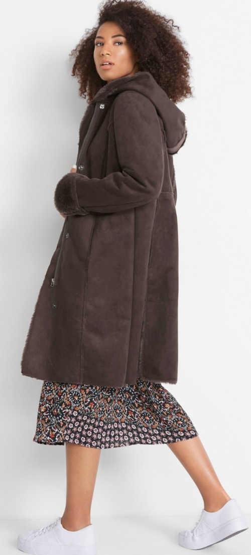 Dámsky dlhý kabát z ekokože