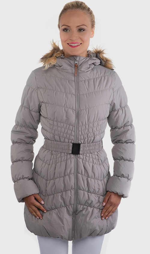 Dámsky prešívaný kabát s opaskom a kapucňou v sivej farbe