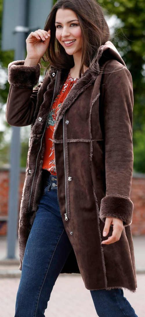 Dlhý dámsky kabát na jar jeseň z imitácie kože