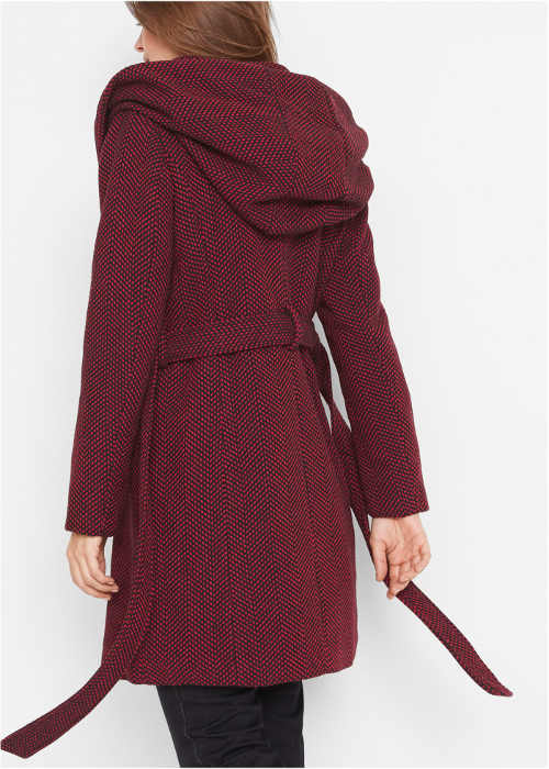 Fialový dámsky zimný kabát s opaskom