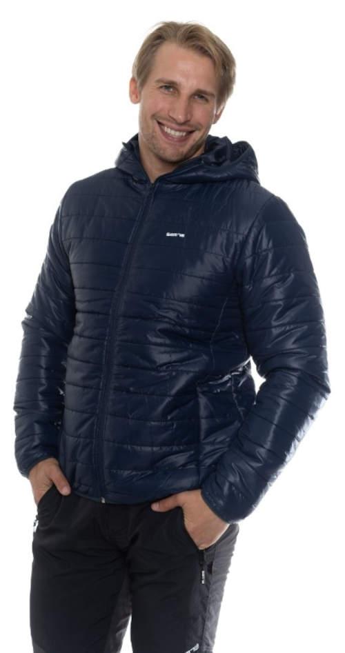 Lacná tmavomodrá pánska zimná bunda Sam 73