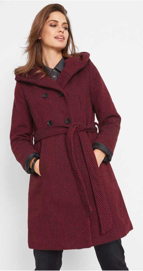 Luxusný vlnený dámsky kabát s kapucňou