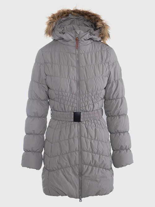 Moderný prešívaný sivý kabát pre dámy