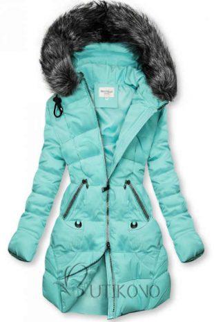 Módna dámska prešívaná bunda s kapucňou v azúrovej farbe