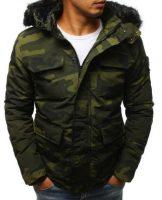 Pánska zimná bunda s kožušinovým golierom v army štýle